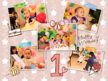 Aちゃんの一歳のお誕生日とお祖父様のお誕生日をみんなで盛大にお祝いしました。:Aちゃんはとても可愛い白雪姫になってスマッシュケーキができました。【佐久市 Aちゃん】